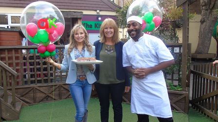 Annabel Karmel, teacher Maria Sanchez and chef Tony Hinds. Picture: Treehouse Nursery School