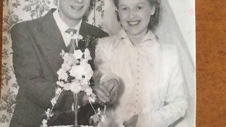 Walter and Jean Gardiner on their wedding day 64 years ago. They were happily married until Walter d