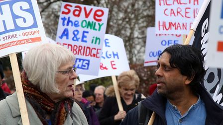 Protesters at a march to save King George Hospital's A&E in March. Picture: Catherine Davison
