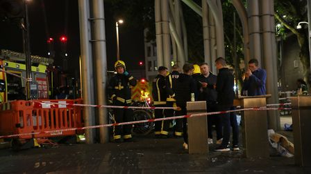 Emergency services at Stratford Centre in east London, following a suspected noxious substance attac
