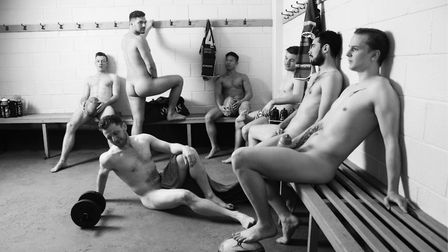 The players get naked in the changing room for this Renaissance-effect April shot. Picture: Divers