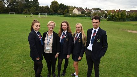 The Albany headteacher Val Masson with students Kaci Webb, Bobbie Ford, Kyra-Leigh Croucher and Ronn