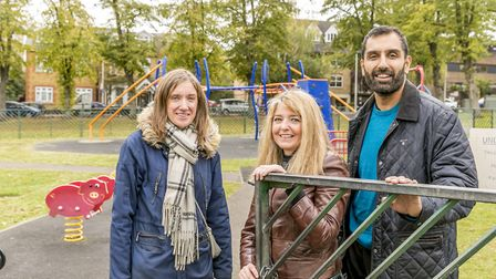 CPA members Nicola and Emma with cllr Kam. Picture James Burns