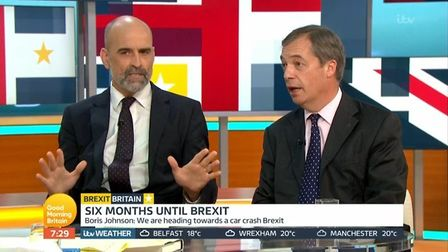 The New European editor Matt Kelly debates with Nigel Farage on Good Morning Britain. Photograph: IT