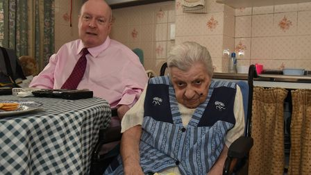 Roy Clancy is concerned that his care package has been reduced. Pictured with his 99 year old mother