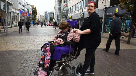 Enid Hart with her daughter Claire in Ilford High Road. Enid is campaigning for better accessible to
