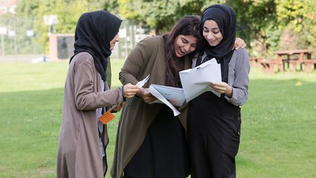 Plashet School pupils collect their results