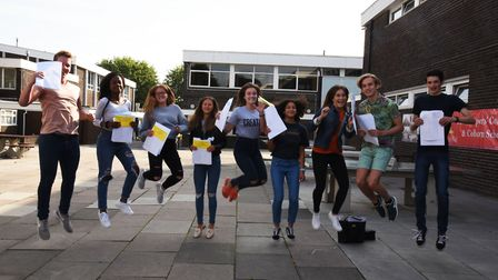The Coopers Company and Coborn GCSE results. The top achievers jumping for joy