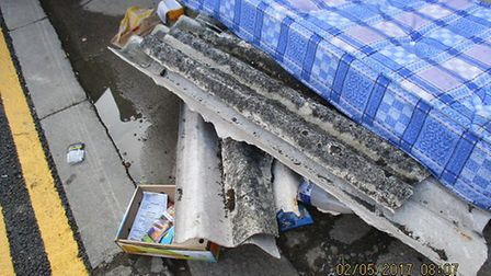 The asbestos sheeting was disturbed which makes it even more harmful. Picture credit: Newham Council