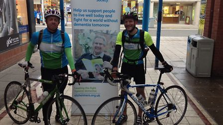 Jonny Hawes and Rob Chenery finish their charity cycle ride. Picture: Joe Randlesome