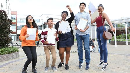 Beal High School pupils celebrating their results