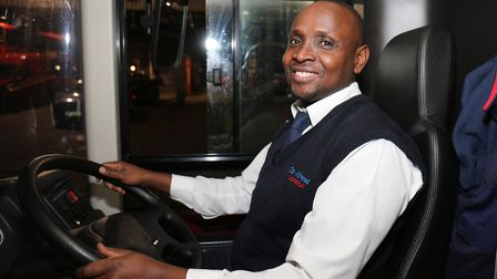Driver Stephen Lwere at Go Ahead London Blue Triangle Bus Garage, in Barking,