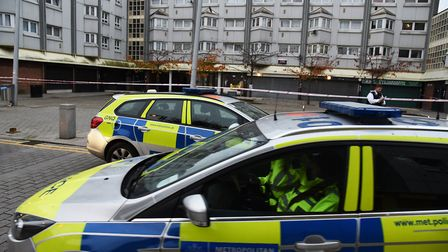 Police at the scene of the stabbing on Pier Road. Picture credit: Archant