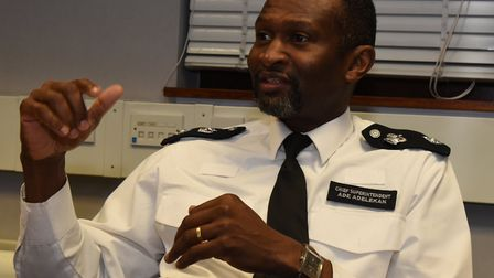 Chief Supt Ade Adelekan talks to the Newham Recorder after a successful morning's raids.