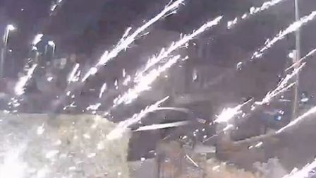 A firework that 'sounded like a bomb' was thrown at a home in Ashford Road, South Woodford on Sunday