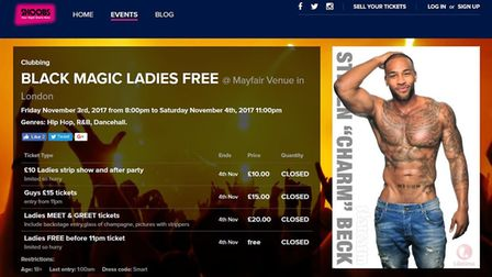 A popular ticketing website clearly referred to the event at the Mayfair Venue in Chadwell Heath as