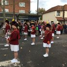 The Haverettes All Girls Marching Band in action at Elm Park's Remembrance Sunday service.
