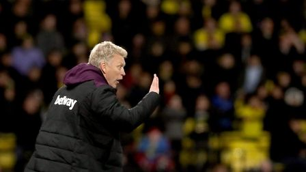 West Ham United manager David Moyes gestures on the touchline during the Premier League match at Vic