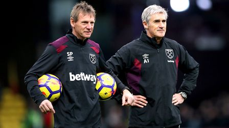 West Ham United assistant managers Stuart Pearce (left) and Alan Irvine (right) before the Premier L