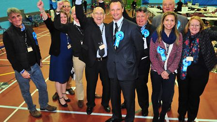Conservative candidate Peter Aldous is the new MP for Waveney.Conservative party members celebrate t