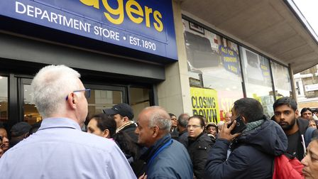 Hundreds queued for the Bodgers closing down sale on Tuesday, November 14. Picture: Dharam Sahdev