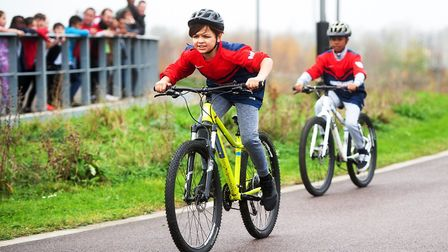 Children from New City Primary School were among the youngsters to get on their bikes. Picture: Lee