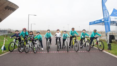 Year Five and Six pupils from Gallions Primary School on the start line. Picture: Lee Valley Regiona