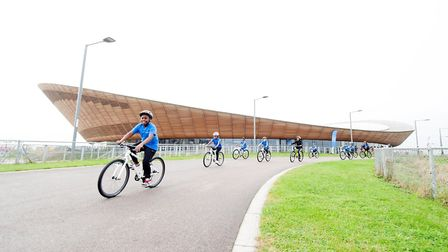 Curwen Primary School cyclists ride past the Lee Valley VeloPark. Picture: Lee Valley Regional Park