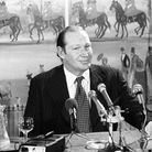 Australian television tycoon Kerry Packer at a press conference at the Dorchester Hotel to announce