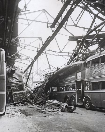 West Ham trolleybus depot wrecked at the start of the Blitz, September 1940, 1940.
