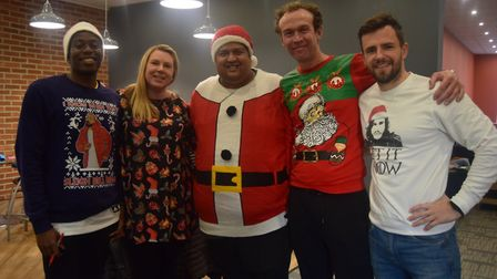 St Bonaventure's staff taking part in the Jumpers for Jimmy day Picture: Di Halliwell
