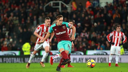 West Ham United's Mark Noble scores his side's first goal of the game during the Premier League matc