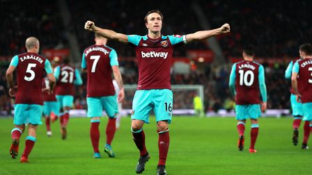 West Ham United's Mark Noble celebrates scoring his side's first goal of the game during the Premier