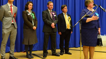 Therese Coffey is declared the MP for Suffolk Coastal following ther count in the parliamentary elec