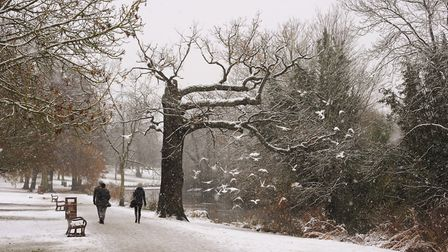 Snow in Raphael Park, Romford, on Sunday, December10. Picture: Dara Khaled