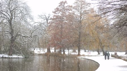Raphael Park, Romford, in the snow on Sunday, December 10. Picture: Dara Khaled