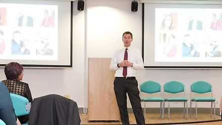 Health secretary Jeremy Hunt speaking to members of BHRUT staff at Queen's Hospital on Friday. Photo