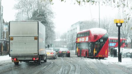 A stranded bus in Camden, as heavy snowfall fell across London. Photo: PA