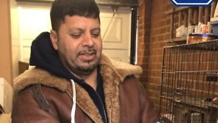 Mohammed Asab, 51, shows off his fighting cockerels in a video seized from his mobile by the RSPCA.