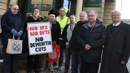 A protest was held before the meeting against closing Meadow Court. Picture: Ken Mears