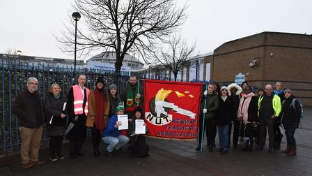 Teachers on strike outside the Royal Docks Community School