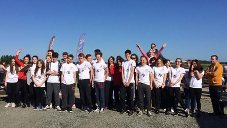 Students from Benjamin Britten High School take part in a charity Skydive. Picture: Submitted
