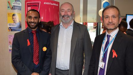 Left to right: Newham GP and clinical lead for HIV Dr James Stevenson, Cllr Clive Furness, Director