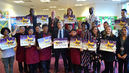 Unison general secretary Dave Prentis with staff from Lister Community School. Picture: Newham Commu