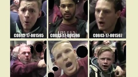 Images of six fans believed to be West Ham supporters who police want to trace after violence at Wem