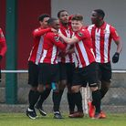 Hornchurch celebrate Theo Fairweather-Johnson's goal against Waltham Abbey in the Bostik North (pic: