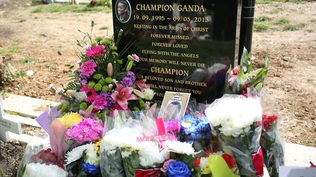 Champion's grave in Manor Park Cemetory covered in flowers from family and friends. Picture: Ellie H