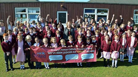 St Mary's RC Primary School celebrate a good Ofsted report. Picture: Mick Howes