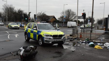 The scene in Goodmayes when a police chase of teenagers on a moped ended in a crash