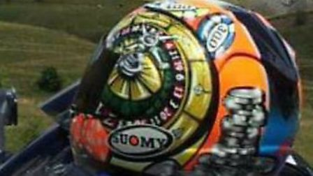 The distinctive motorcycle helmet that has been stolen.